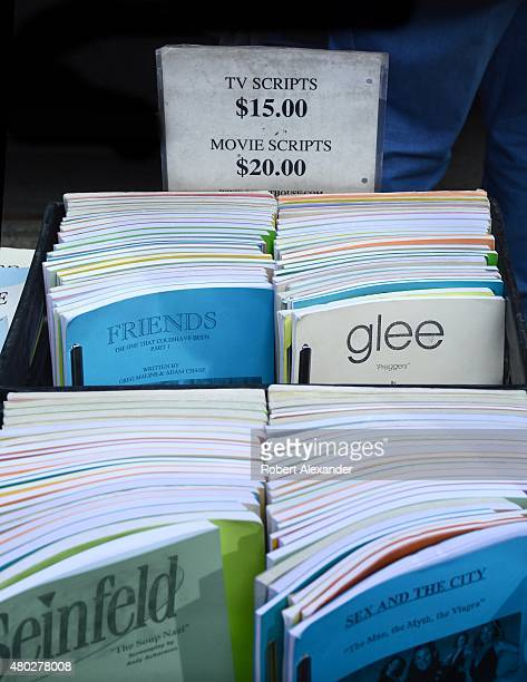 Copies of television and movie scripts for sale by a Manhattan sidewalk vendor includes scripts for 'Friends' 'Glee' and 'Seinfeld'