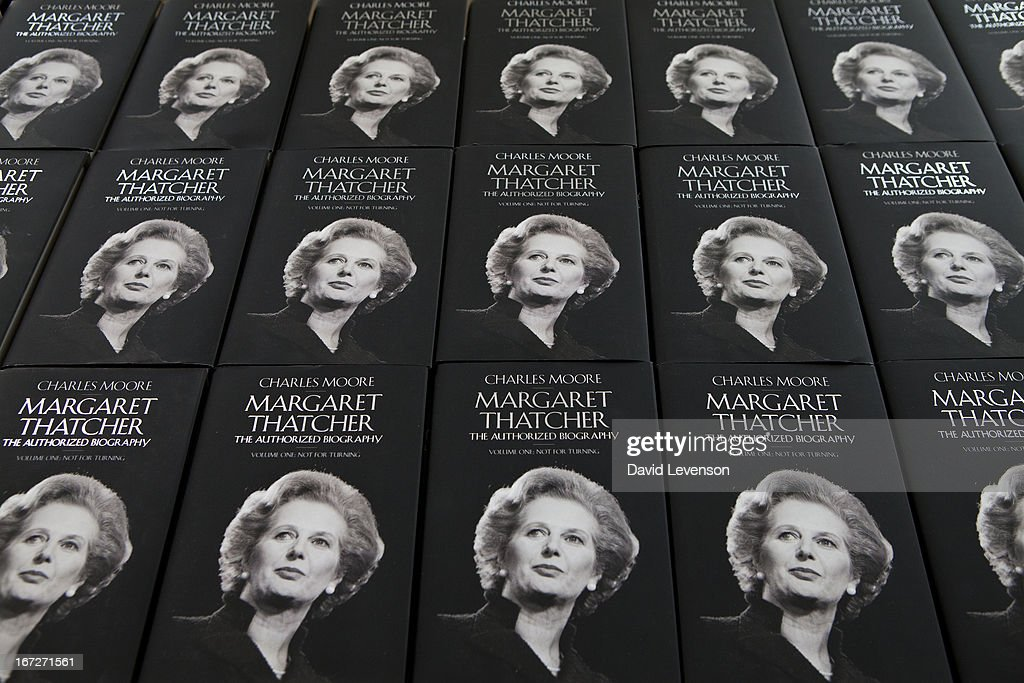 Copies of the book on display at the launch of 'Margaret Thatcher - The Authorised Biography, Volume One: Not for Turning' by Charles Moore at Banqueting House on April 23, 2013 in London, England.