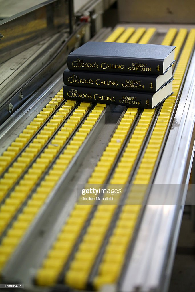 Copies of The Cuckoo's Calling sit on the production line on July 18, 2013 in Bungay, England. JK Rowling has recently been uncovered as the secret author of the new book 'The Cuckoo's Calling' after being published by Sphere under the pseudonym of 'Robert Galbraith.' Since the revelation, sales of the book have soared and the printers of the book, Clays, have had to start reprinting the book in large numbers.