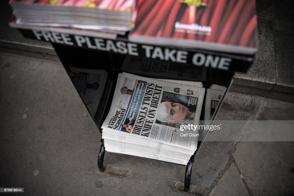Copies of the Evening Standard newspaper are displayed on May 2, 2017 in London, England. Former Chancellor of the Exchequer, George Osborne, today started his first full day as editor of the newspaper having recently announced that he was stepping down from his seat as MP for Tatton following criticism for accepting the position.
