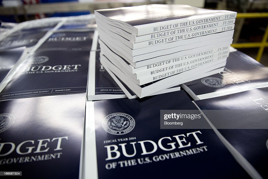 Copies of the Fiscal Year 2014 Budget sit on a pallet at the U.S. Government Printing Office in Washington, D.C., U.S., on Monday, April 8, 2013. Less than a week after job-creation figures fell short of expectations and underscored the U.S. economy's fragility, President Barack Obama will send Congress a budget that doesn't include the stimulus his allies say is needed and instead embraces cuts in an appeal to Republicans. Photographer: Andrew Harrer/Bloomberg via Getty Images