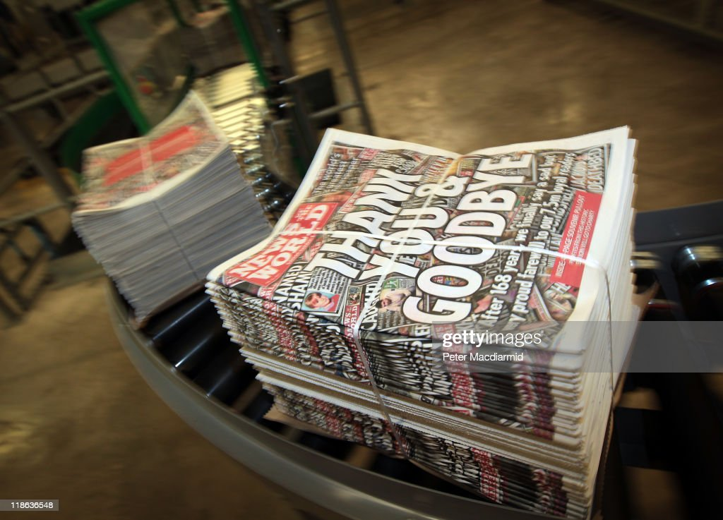 Copies of the last-ever News of The World newspaper are carried on a conveyor belt at the Newsprinters plant on July 9, 2011 in Waltham Cross, England. Five million copies of the News of The World newspaper are being printed in this last-ever edition. The 168-year-old newspaper is being closed amid phone hacking and bribery allegations.