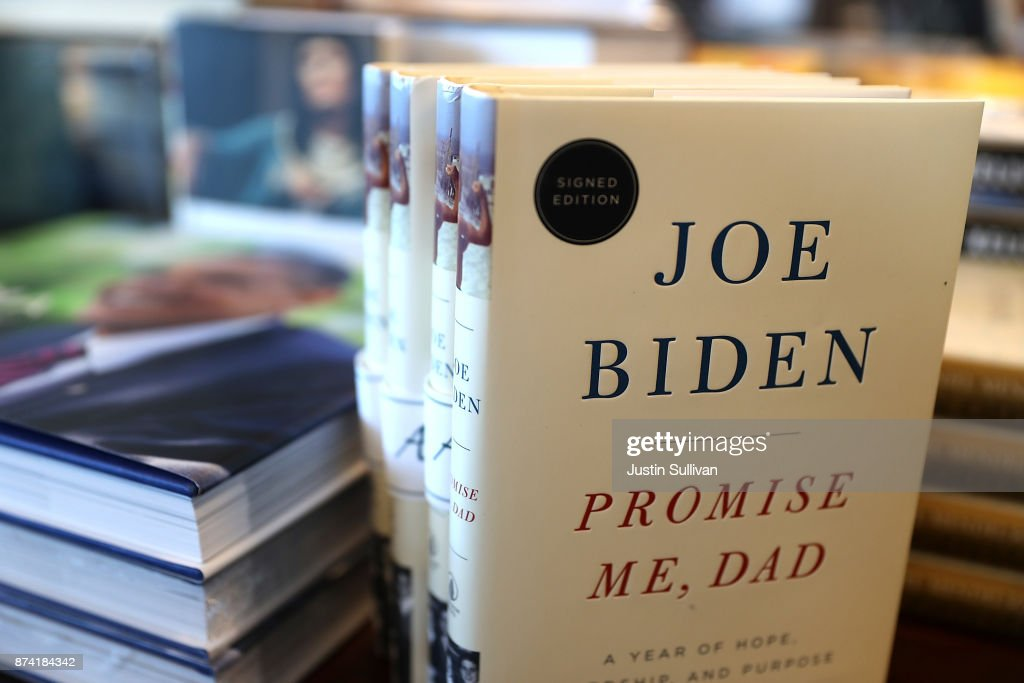 Copies of the new book by former U.S. vice president Joe Biden called 'Promise Me, Dad' are displayed on a shelf at Book Passage on November 14, 2017 in Corte Madera, California. The new book by former U.S. vice president Joe Biden hit store shelves today.