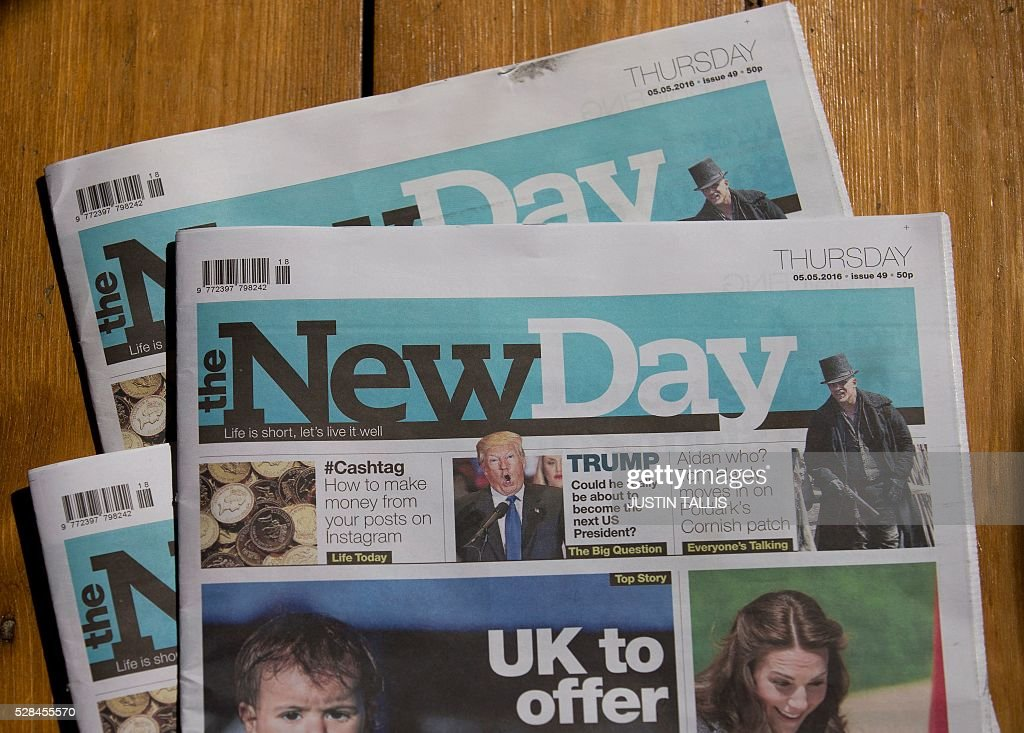 Copies of The New Day newspaper are pictured in south London on May 5, 2016. Britain's first new national daily newspaper in 30 years is to shut, its owners said Thursday, just over two months after it was launched promising to prove that print news can survive the Internet age. Trinity Mirror group said it was 'disappointing' that The New Day would print its last edition on Friday -- just weeks after its launch on February 29 -- but circulation had fallen 'below our expectations'. TALLIS
