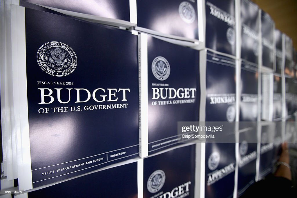 Copies of the Obama Administration's proposed FY 2014 federal budget are on display before going on sale at the Government Printing Office Book Store...