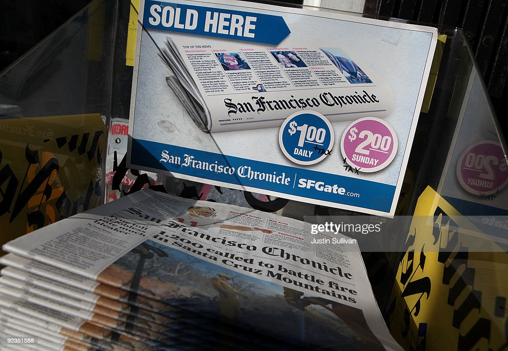 Copies of the San Francisco Chronicle are displayed at a newsstand October 26, 2009 in San Francisco, California. A report by the Audit Bureau of Circulations reveals that the average daily circulation of U.S. newspapers fell 10.6 percent in the six month period between April-September compared to one year ago. The San Francisco Chronicle had the largest decline with a drop of 25.8 percent to 251,782. The Wall Street Journal surpassed USA Today as the number one selling paper in the U.S. after USA Today had its circulation drop more than 17 percent to 1.90 million.