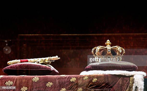 Copies of the scepter of Charles V and the king's crown Charlemagne are displayed during the exhibition 'Le Roi est mort The King is dead' at Chateau...