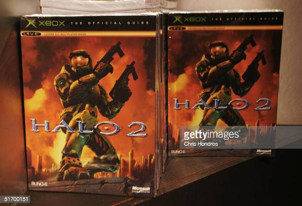 Copies of the video game Halo 2 are displayed on shelves just after midnight at the Toys 'R' Us store in Times Square November 9 2004 in New York...