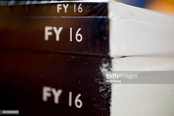 Copies of US President Barack Obama's Fiscal Year 2016 Budget sit on a table at the Senate Budget Committee hearing room in Washington DC US on...