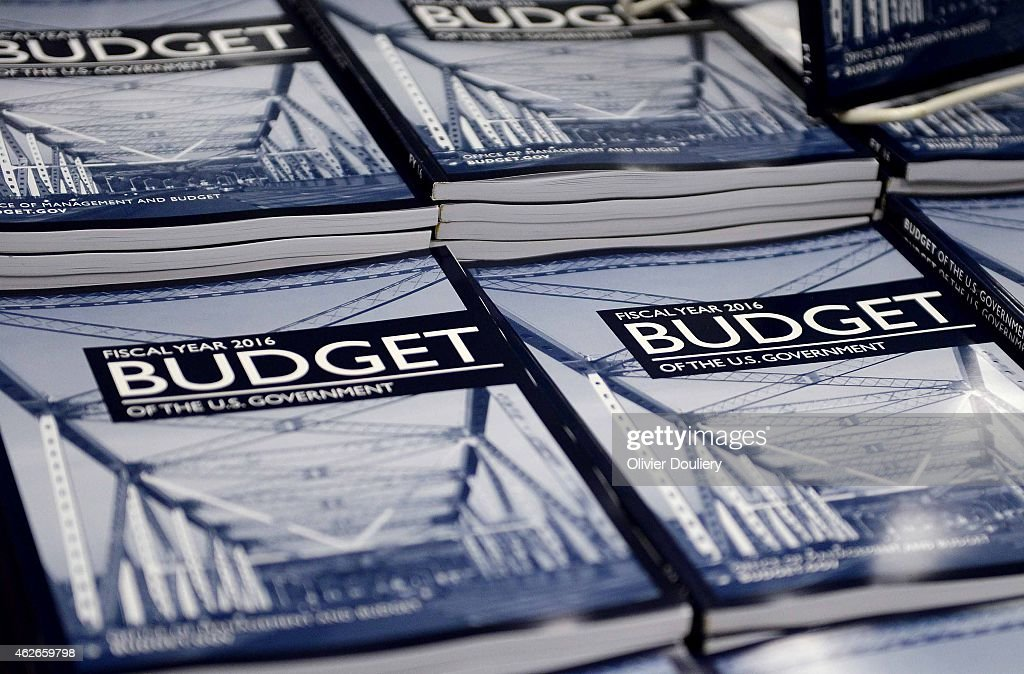 Copies of US President Barack Obama's Fiscal Year 2016 Budget sit on display for sale at the Government Printing Office bookstore February 2 2015 in...