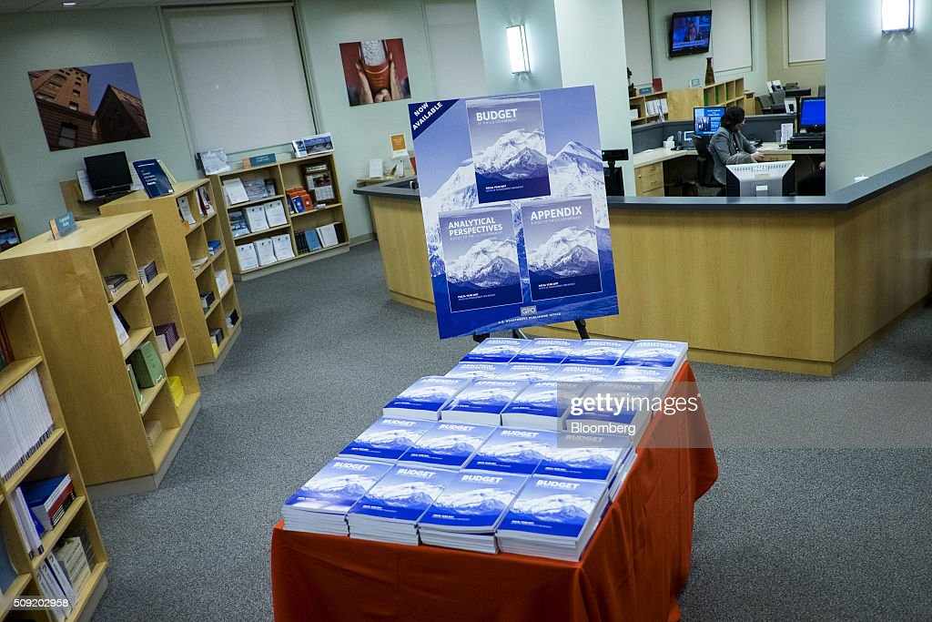 Copies of U.S. President Barack Obama's Fiscal Year 2017 Budget are displayed for sale at the Government Publishing Office bookstore in Washington, D.C., U.S., on Tuesday, Feb. 9, 2016. Obama will send a fiscal 2017 budget of about $4 trillion to the Republican-controlled Congress on Tuesday representing his aspirations for the future of the U.S. Photographer: Pete Marovich/Bloomberg via Getty Images