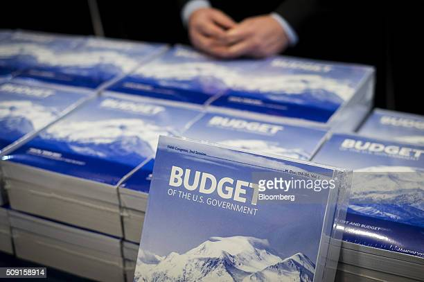 Copies of US President Barack Obama's Fiscal Year 2017 Budget sit on a table at the Senate Budget Committee room in Washington DC US on Tuesday Feb 9...