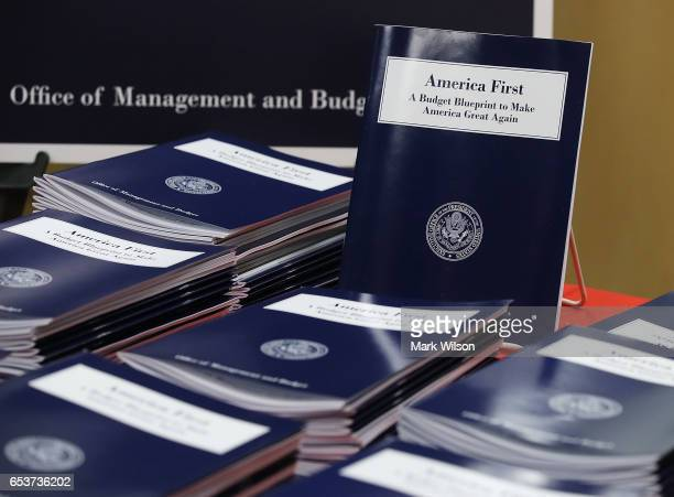 Copies of US President Donald Trump's overview of budget priorities for FY2018 are on display at the Government Publishing Office and the Office of...