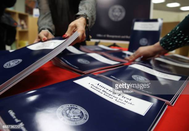 Copies of US President Donald Trump's overview of budget priorities for FY2018 titled 'America First A Budget Blueprint to Make America Great Again'...