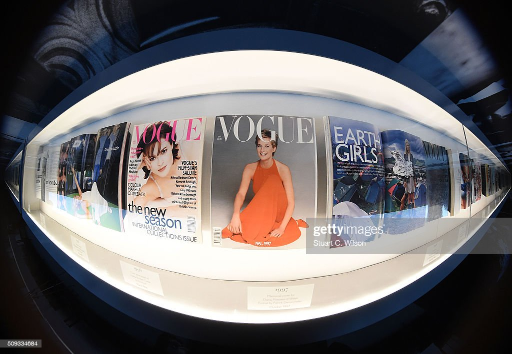 Copies of Vogue are displayed at the press preview for 'Vogue 100: A Century of Style' exhibiting the photographs that has been commissioned by British Vogue since it was founded in 1916 at National Portrait Gallery on February 10, 2016 in London, England.