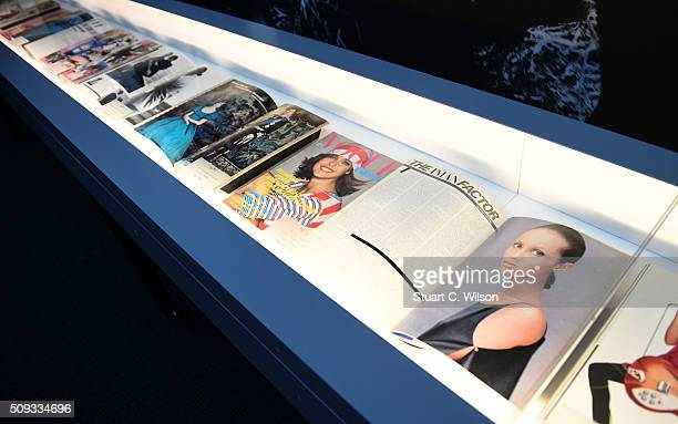 Copies of Vogue are displayed at the press preview for 'Vogue 100 A Century of Style' exhibiting the photographs that has been commissioned by...