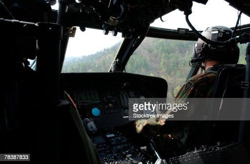 Co-pilot aboard a UH-60 Black Hawk helicopter.