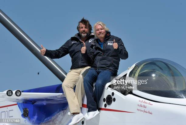 Copilots of the Challenger Deep submersible Chris Welsh and President CEO of Virgin Airlines Sir Richard Branson attend the Virgin Group Media...