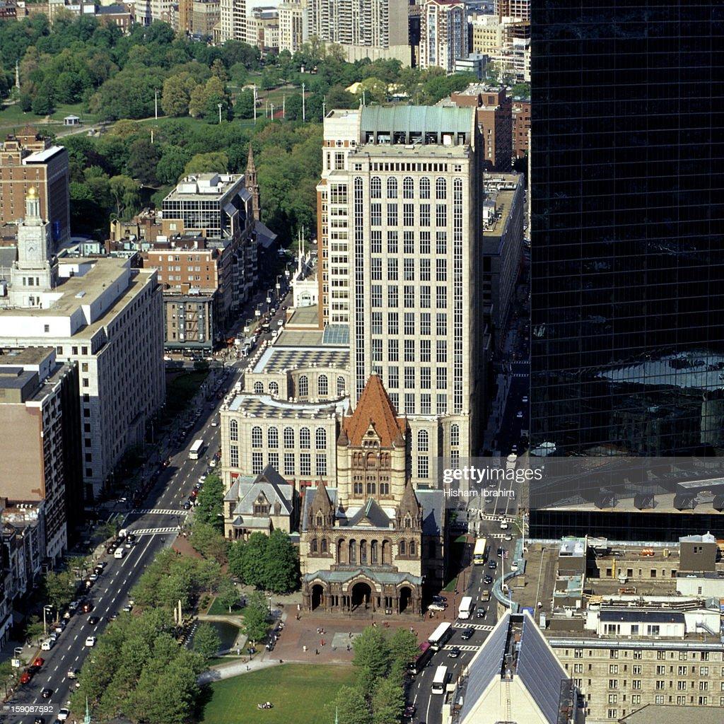 Copley Square, Boston Common, aerial view, Boston : Stock Photo