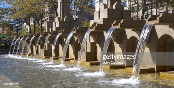 Copley Square Fountain, Boston, Massachusetts : Stock Photo