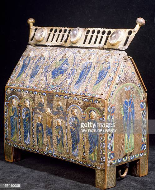 Copper and enamel reliquary casket from the Treasury Cathedral of Aosta Italy 12th century Aosta Museo Del Tesoro