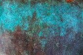 Image of antique copper vessel surface texture.