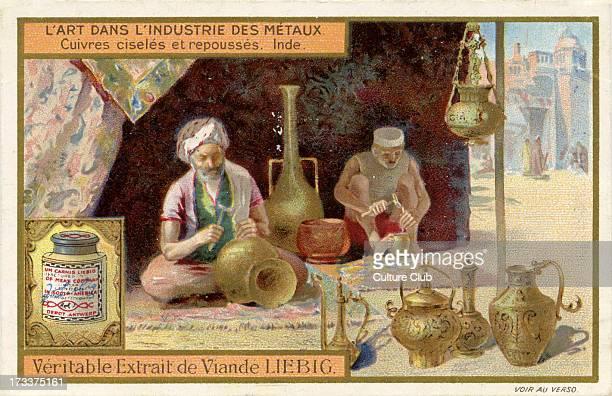 Copper being engraved India From Liebig series L'art dans l'Industrie des métaux 1910 No 3
