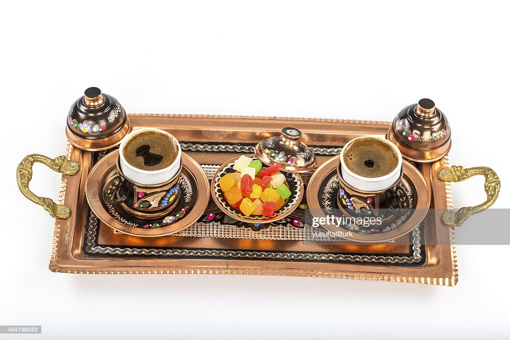 Copper coffee cup and Turkish delight : Stock Photo
