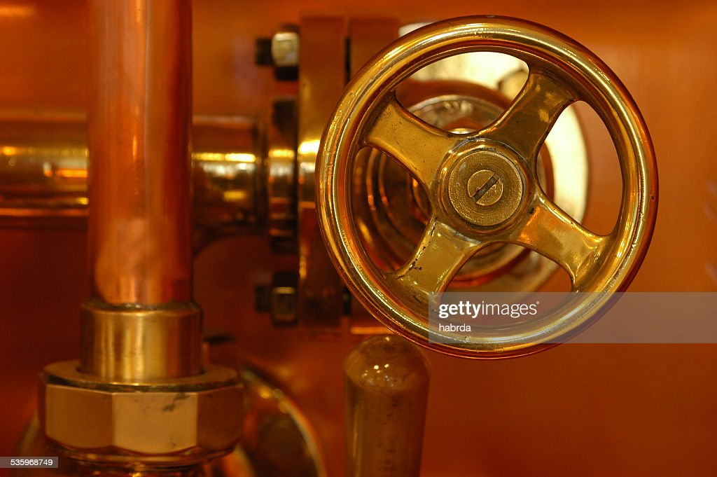 copper detail of brewery : Stock Photo