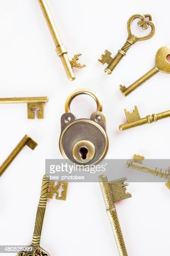 Copper keys and locks : Stock Photo
