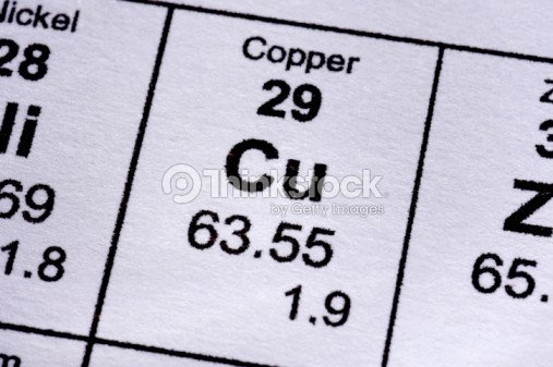 Copper molecular formula : Stock Photo