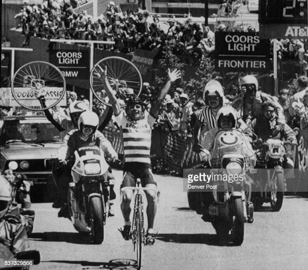 Jeff Pierce crosses the finish line solo winning the Vail to Copper Mountain road race stage of the Coors Bicycle Classic Pierce broke away with two...