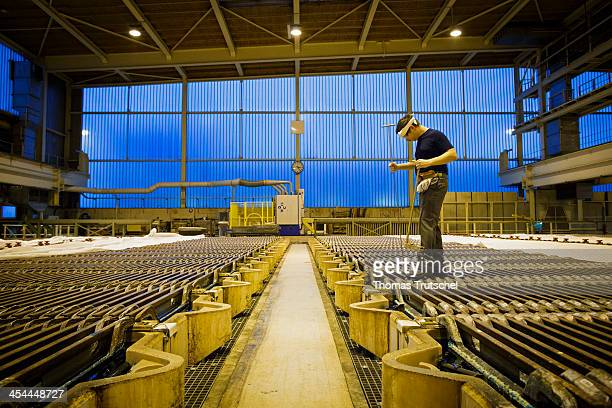 Copper tankhouse of Aurubis AG which produces copper cathodes from the copper anodes an employee controls the refinement process in the electrolysis...