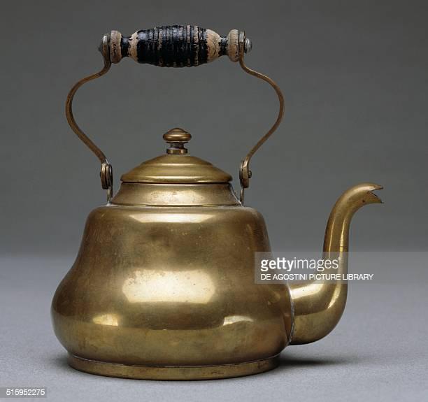 Copper tea kettle with wooden handle toy Italy 20th century Milan Museo Del Giocattolo E Del Bambino