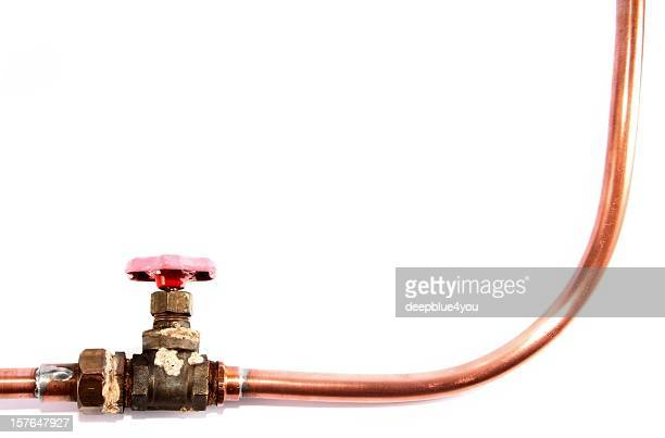 copper tube with red valve