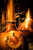 Dublin, Eire - November 18, 2013: Copper fermentation vats at an Irish Whiskey distillery
