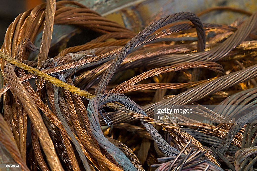 Copper Wire at Recycling Plant : Stock Photo