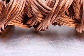 Close up copper wire raw materials and metals industry