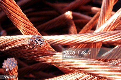 Copper wire with green and white background