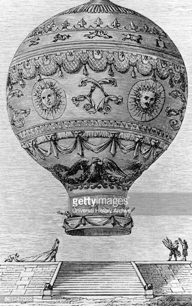 Copperplate engraving of the Hydrogen Balloon designed by the Montgolfier Brothers JosephMichel Montgolfier and JacquesEtienne Montgolfier inventors...