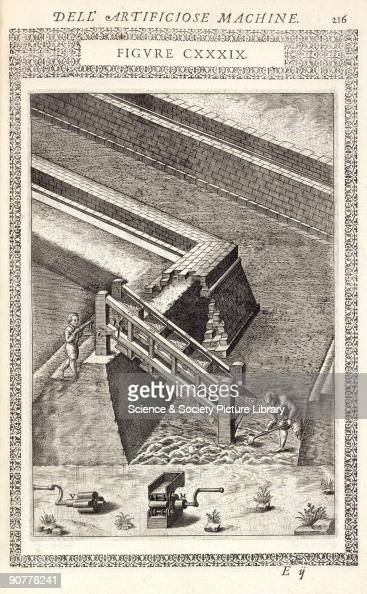 Copperplate engraving �With the device of this machine earth can_be excavated from a ditch with the force of only one man' Illustration from �Le...