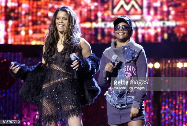 Copresenters of the ceremony Blu Cantrell and Lil' Kim during rehearsals for the MOBO Awards 2003 at the Royal Albert Hall in London