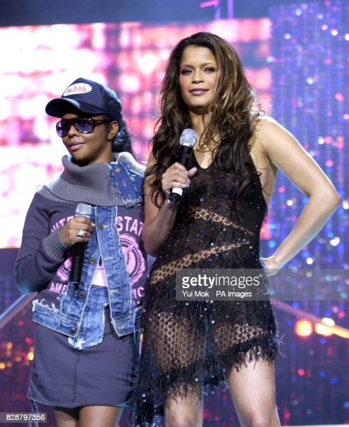 Copresenters of the ceremony Lil' Kim and Blu Cantrell during rehearsals for the MOBO Awards 2003 at the Royal Albert Hall in London