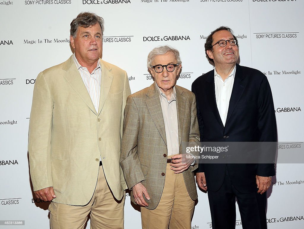 Co-President and Co-Founder of Sony Pictures Classics <a gi-track='captionPersonalityLinkClicked' href=/galleries/search?phrase=Tom+Bernard&family=editorial&specificpeople=204620 ng-click='$event.stopPropagation()'>Tom Bernard</a>, writer/director <a gi-track='captionPersonalityLinkClicked' href=/galleries/search?phrase=Woody+Allen&family=editorial&specificpeople=202886 ng-click='$event.stopPropagation()'>Woody Allen</a>, and Co-President and Co-Founder of Sony Pictures Classics <a gi-track='captionPersonalityLinkClicked' href=/galleries/search?phrase=Michael+Barker+-+CEO&family=editorial&specificpeople=236048 ng-click='$event.stopPropagation()'>Michael Barker</a>, attend 'Magic In The Moonlight' premiere at Paris Theater on July 17, 2014 in New York City.