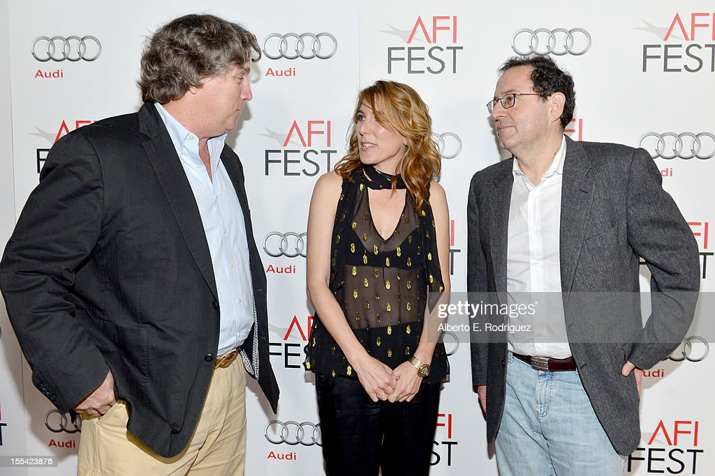 Co-president/ co-founder of Sony Pictures Classic Tom Bernard, director <a gi-track='captionPersonalityLinkClicked' href=/galleries/search?phrase=Amy+Berg&family=editorial&specificpeople=581755 ng-click='$event.stopPropagation()'>Amy Berg</a>, and Co-president/ co-founder of Sony Pictures Classic <a gi-track='captionPersonalityLinkClicked' href=/galleries/search?phrase=Michael+Barker+-+CEO&family=editorial&specificpeople=236048 ng-click='$event.stopPropagation()'>Michael Barker</a> arrive at the 'Holy Motors' special screening during the 2012 AFI Fest at Grauman's Chinese Theatre on November 3, 2012 in Hollywood, California.