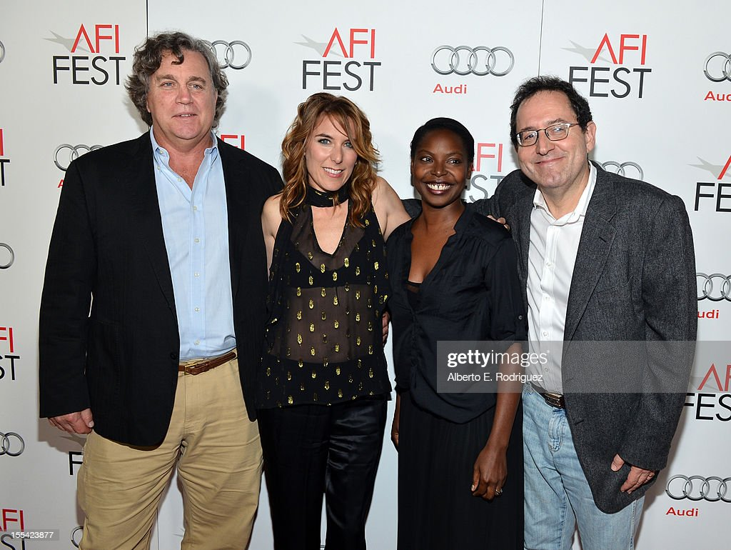 Co-president/ co-founder of Sony Pictures Classic Tom Bernard, director Amy Berg, AFI Fest director Jacqueline Lyanga, and Co-president/ co-founder of Sony Pictures Classic Michael Barker arrive at the 'Holy Motors' special screening during the 2012 AFI Fest at Grauman's Chinese Theatre on November 3, 2012 in Hollywood, California.
