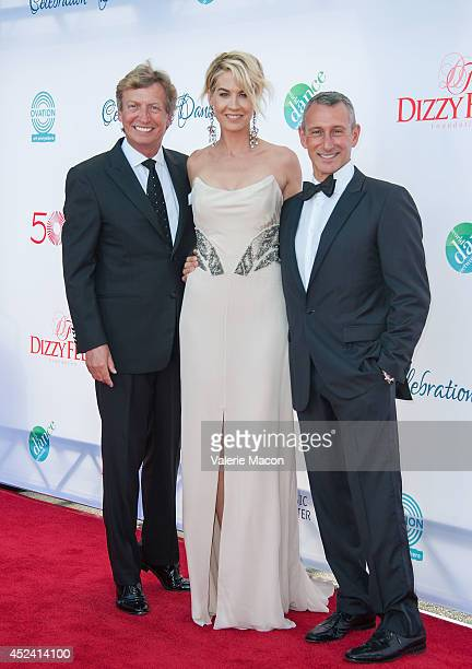 CoPresident Dizzy Feet Foundation Nigel Lythgoe actress Jenna Elfman and CoPresident Dizzy Feet Foundation Adam Shankman arrive at the 4th Annual...