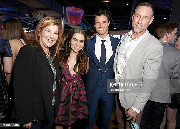 CoPresident of CBS Films Terry Press actors Mae Whitman Robbie Amell and CBS Films Mark Ross attend the after party for the special Los Angeles fan...
