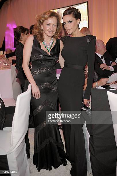 CoPresident of Chopard Caroline GruosiScheufele and Victoria Beckham attend the 17th Annual Elton John AIDS Foundation Oscar party held at the...