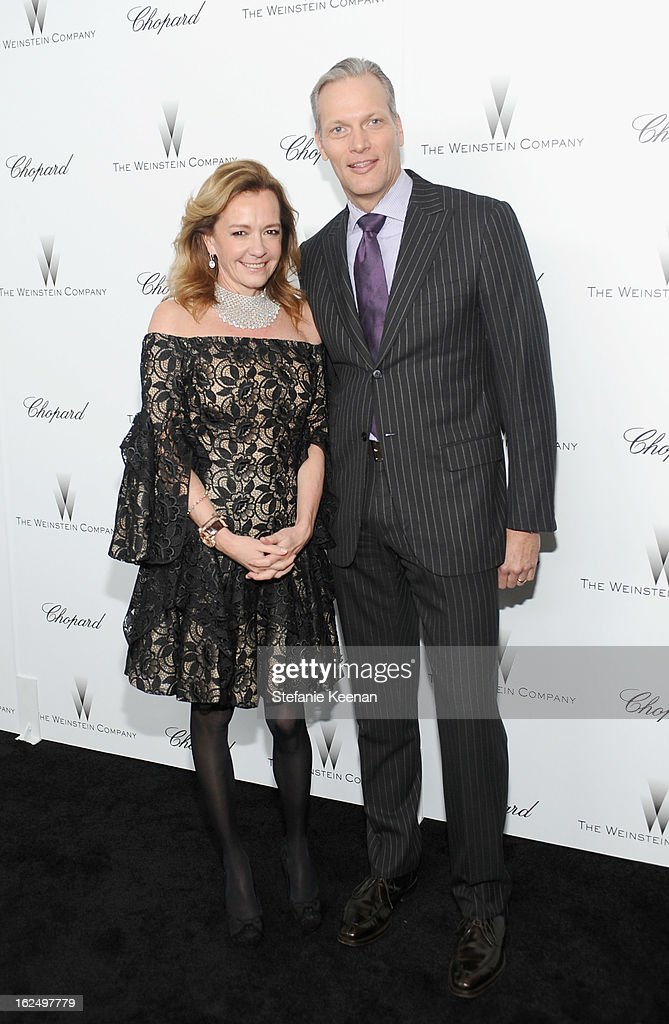 Co-President of Chopard Caroline Scheufele (L) and President & CEO at Chopard USA Marc Hruschka attend The Weinstein Company Academy Award Party hosted by Chopard at Soho House on February 23, 2013 in West Hollywood, California.